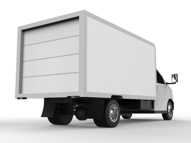Camioneta blanca pequeña. servicio de entrega de coches. entrega de bienes y productos a puntos de venta.