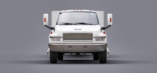 Camioneta blanca con remolque para transportar el barco de carreras en gris.