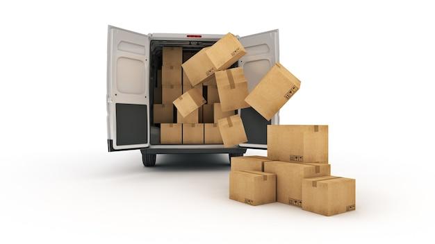 Camionetas de reparto comerciales con cajas de cartón representación 3d