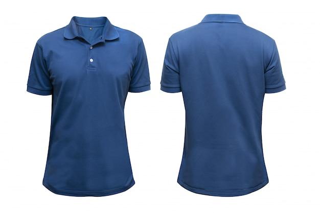Camisa azul delantera y trasera en blanco aislada para maqueta de diseño gráfico
