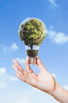 Campaña de energía sostenible mano sujetando árbol bombilla media remix