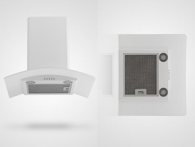 Campana extractora en dos ángulos sobre un fondo blanco. electrodomésticos de cocina. aislado