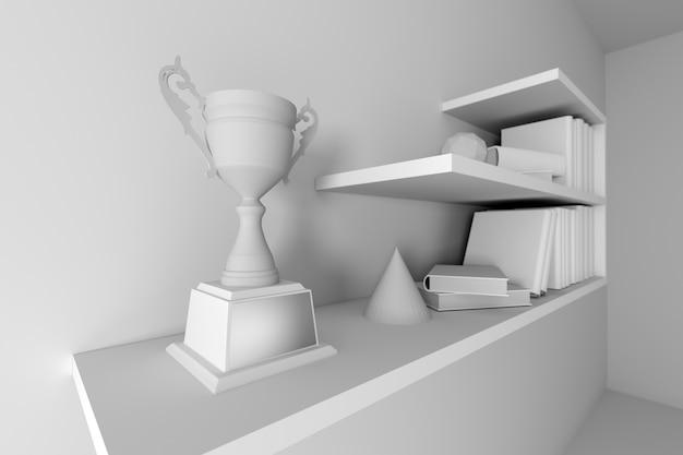 Campeón de trofeo colocado en blanco estante interior vacío.