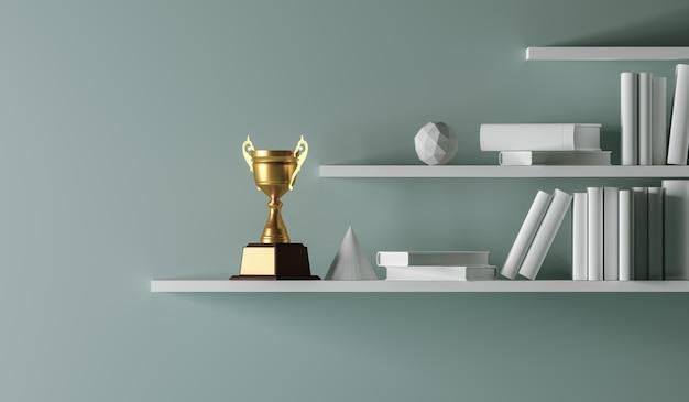 Campeón trofeo de oro colocado en blanco estante interior vacío.