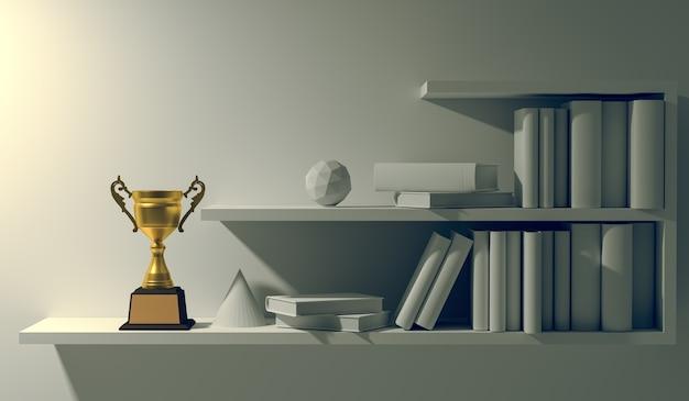 Campeón del trofeo de oro colocado en el estante de libros interior vacío blanco en la noche.