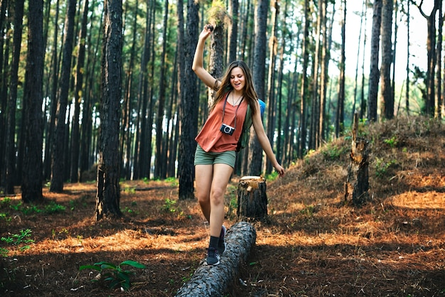 Camping woman fun leisure leisure concept