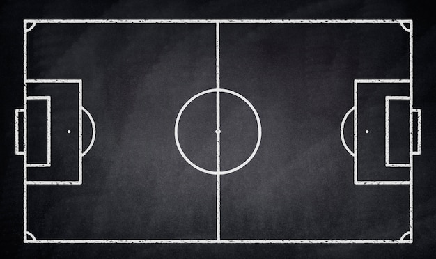 Campo de fútbol dibujado en una pizarra negra