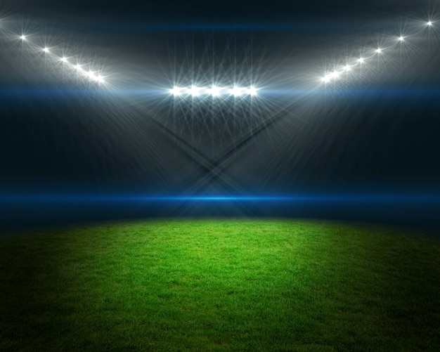 Campo de fútbol con luces brillantes