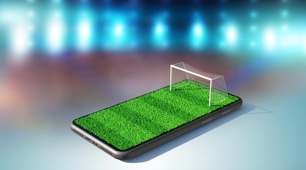 Campo de fútbol en la pantalla de un teléfono inteligente. concepto de fútbol en línea, representación 3d