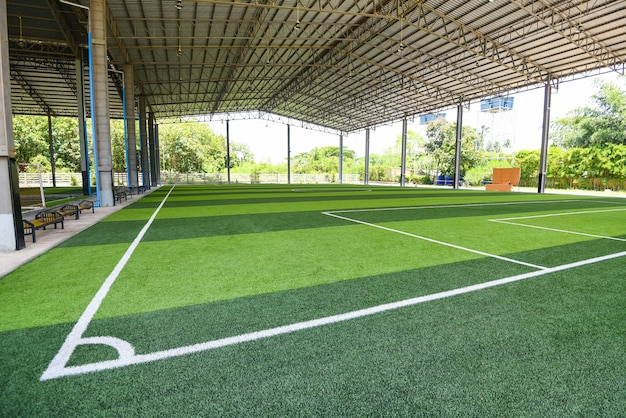 Campo de fútbol sala con pasto verde