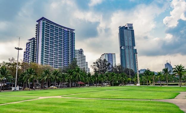 Campo de hierba verde, camino peatonal y cocoteros en el parque de la ciudad junto al mar. edificio moderno de fondo
