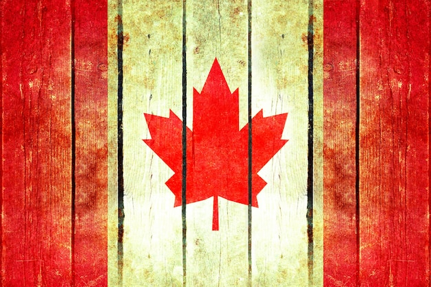 Canadá grunge bandera de madera.