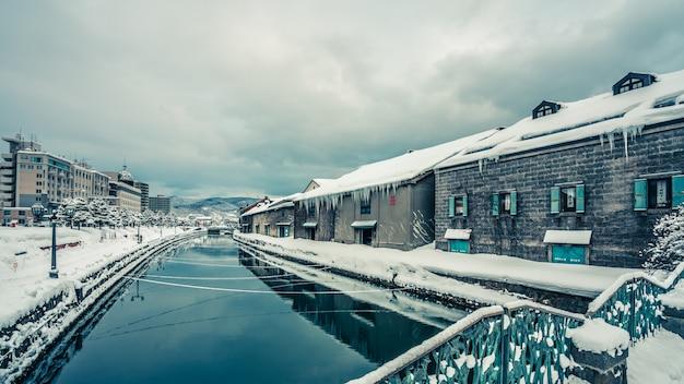 Canal de otaru en invierno hokkaido