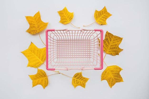 Canasta de alimentos y hojas de otoño sobre fondo blanco.