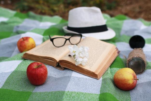 Una canasta con comida de picnic a cuadros en spring park