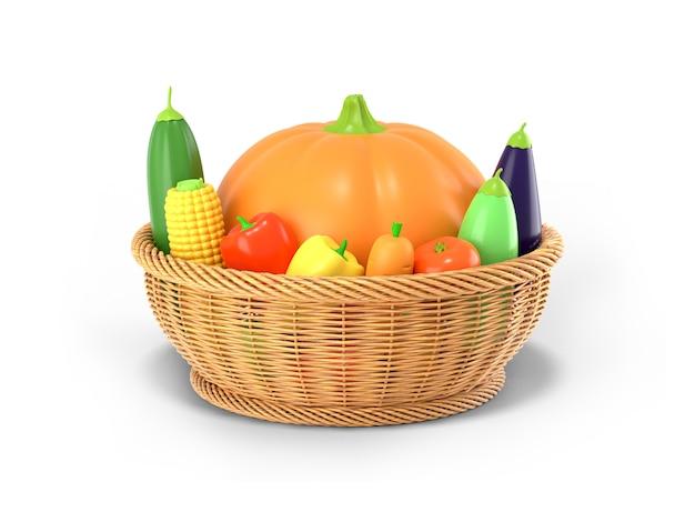 Una canasta con una cosecha de otoño de verduras sobre un fondo de color blanco