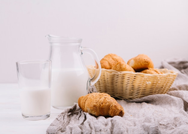 Canasta de croissants y leche contra fondo blanco.