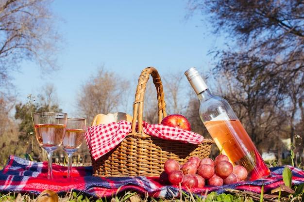 Canasta de picnic con dos copas de vino blanco.
