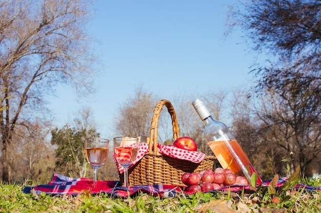 Canasta de picnic con dos copas de vino.