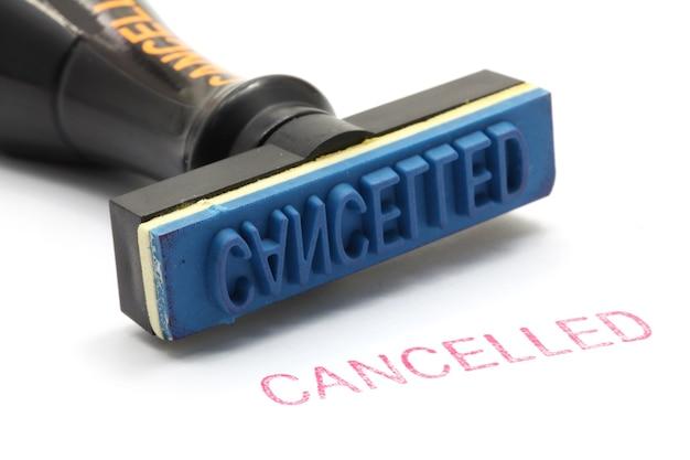 Cancelación de sello de goma
