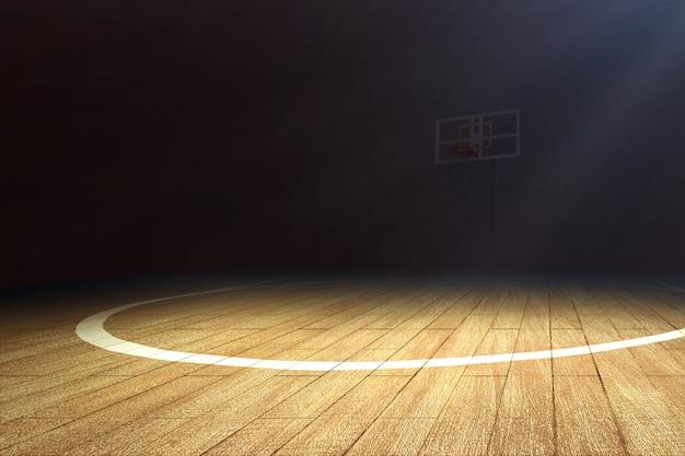 Cancha de baloncesto con piso de madera y un aro de baloncesto