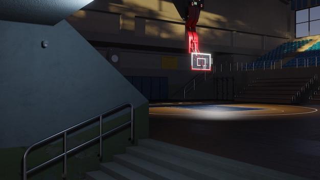Cancha de baloncesto vacía en la luz del sol. arena deportiva. fondo de render 3d