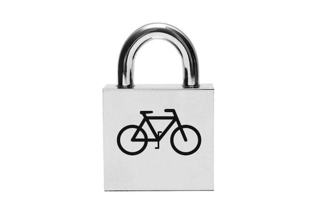 Candado plateado con bicicleta