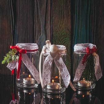 Candelabros de cristal de bricolaje decoración navideña con encajes y cintas