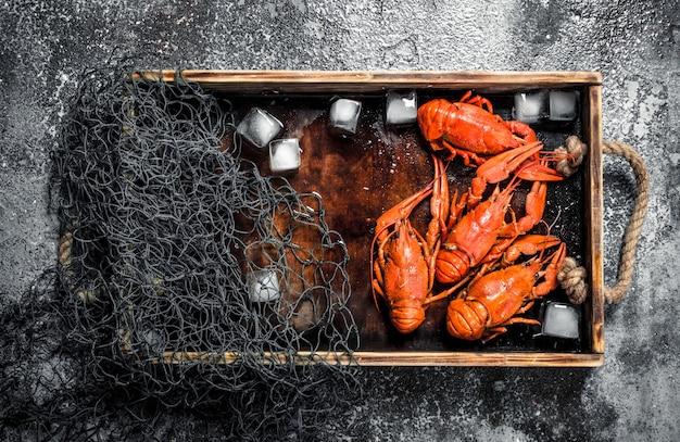 Cangrejo de río cocido con hielo y red de pesca en una bandeja de madera. sobre un fondo rústico.