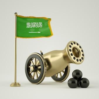 Cañón de ramadán y la bandera de arabia saudita 3d rendering