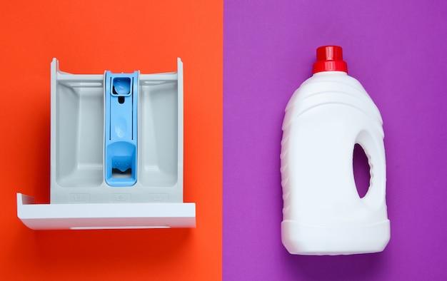 Capacidad de lavadora para polvo, botella de gel de lavado. vista superior, endecha plana