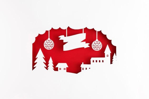 Capas de papel para pueblo navideño