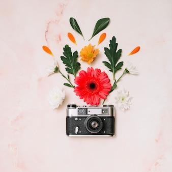 Capullos de flores con la cámara en la mesa