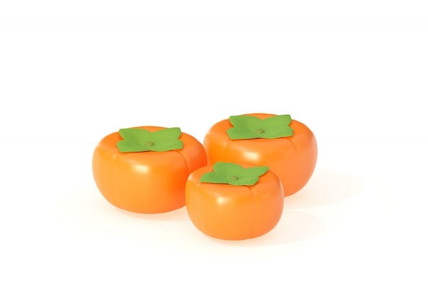 Caqui frutas 3d ilustración render aislado sobre fondo blanco.