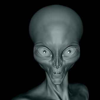 Cara alienígena 3d de cerca sobre un fondo negro
