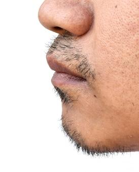 Cara del bigote del hombre asiático en el fondo blanco