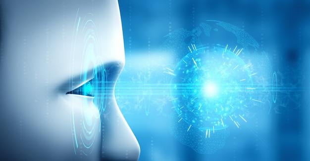 Cara humanoide robot de cerca con el concepto gráfico del cerebro pensante de ai