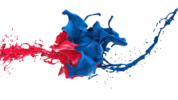 Cara líquida abstracta roja y azul en splash aislado sobre fondo blanco ilustración 3d