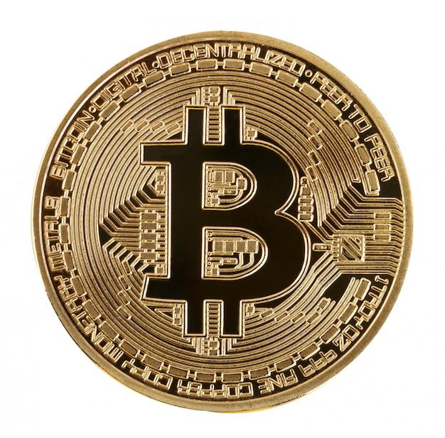 Cara de la moneda criptográfica bitcoin dorado aislado en la pared blanca