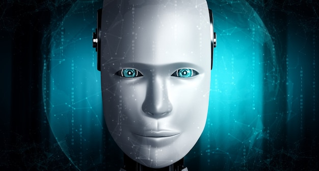 Cara de robot humanoide de cerca con el concepto gráfico del cerebro pensante de ai
