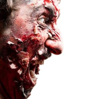 Cara de zombie de lado