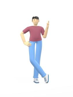 Carácter de representación 3d de un chico asiático apuntando el dedo hacia arriba. idea conceptual, dirección, atención.