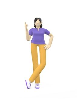 Carácter de representación 3d de una muchacha asiática que destaca el dedo. idea conceptual, dirección, atención.