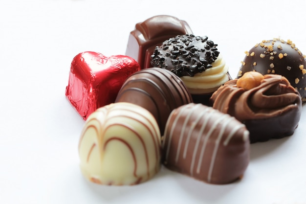 Caramelos de chocolate de cerca