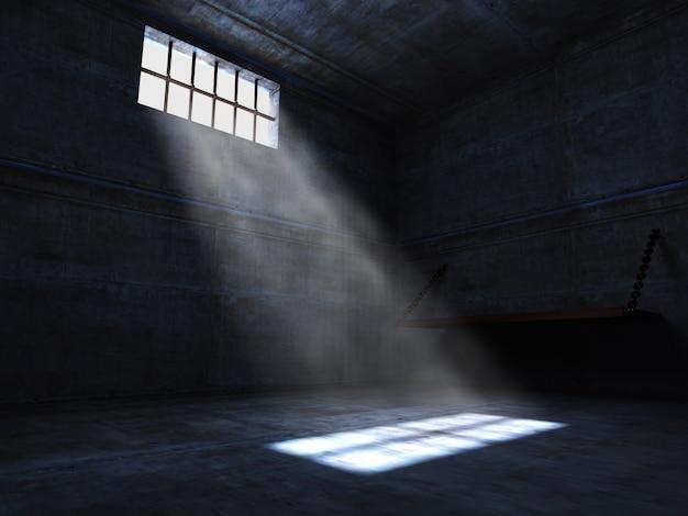 Cárcel oscura con pequeña ventana