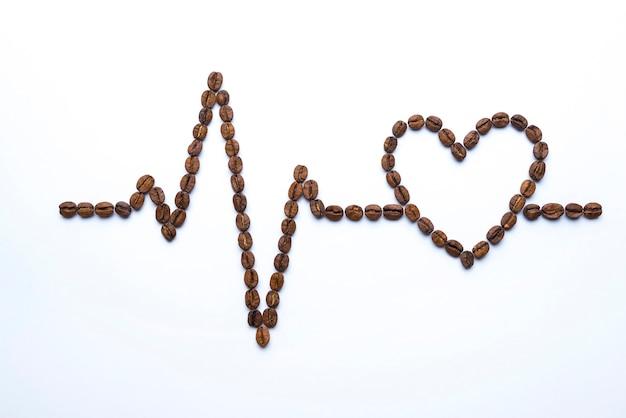 Cardiograma y corazón de granos de café.