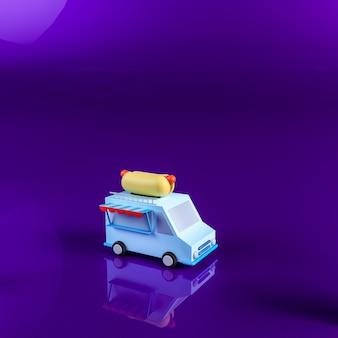 Caricatura de kiosco de comida en 3d render
