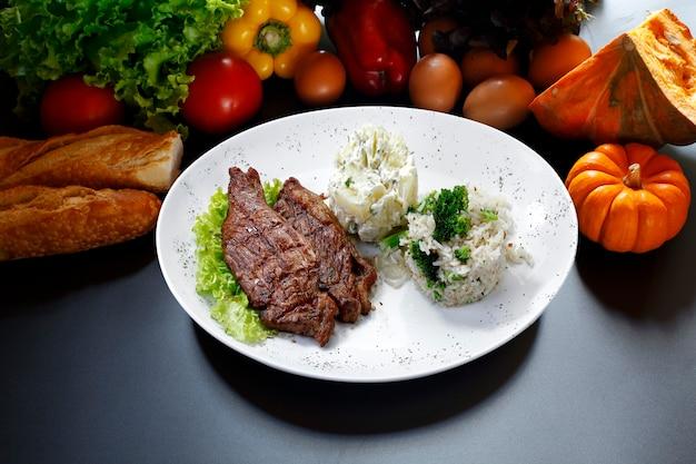 Carne arroz verduras patata