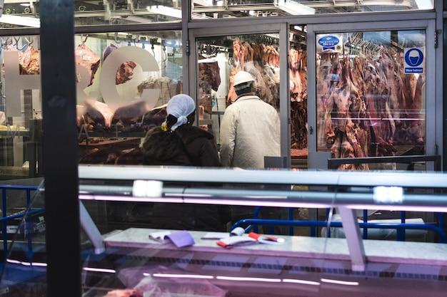 Carne de cerdo en el mercado de carne