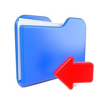 Carpeta azul con flecha roja. aislado en blanco.